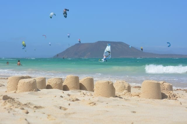 Sandcastles and kitesurfers at Corralejo