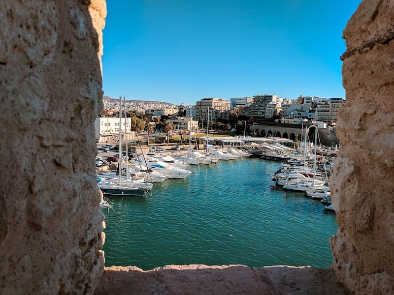 Heraklion harbour from Venetian fortress walls