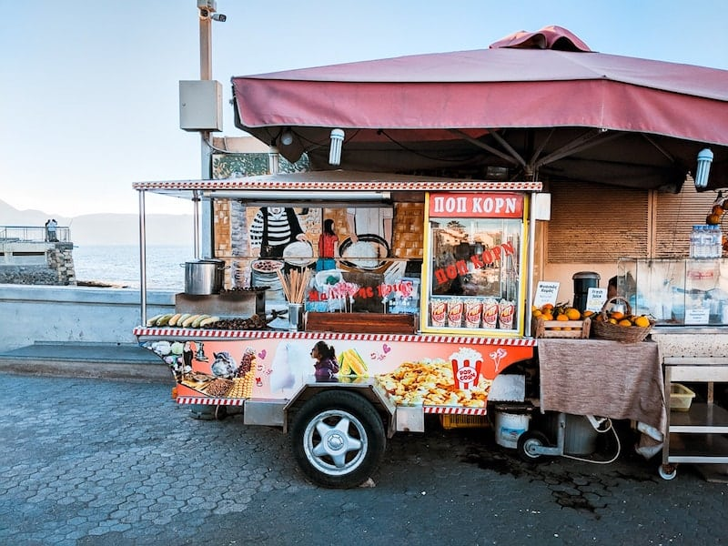 Street food vendor in Heraklion harbour
