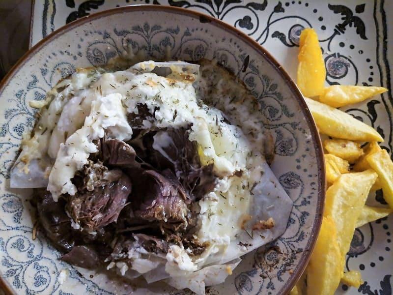 Goat baked in yoghurt, Peskesi restaurant