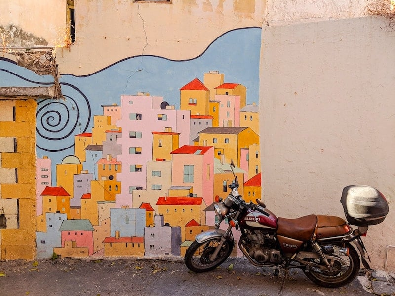 Street art and motorbike in Heraklion