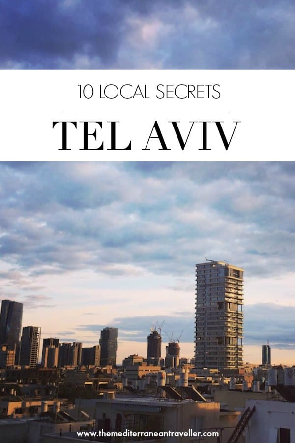 Moody skyline of Tel Aviv with text overlay '10 Local Secrets - Tel Aviv'
