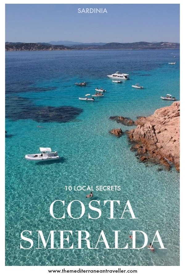 Turquoise Sardinian seas with text overlay '10 Local Secrets - Costa Smeralda'