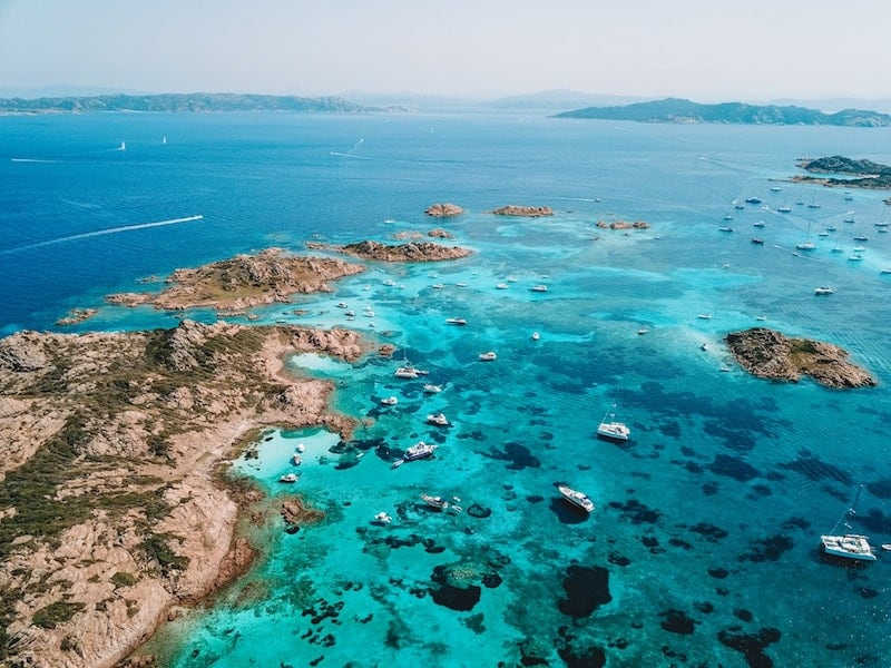 Aerial shot of Costa Smeralda coastline