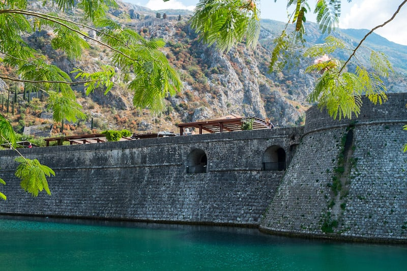 Defensive walls and moat in Kotor