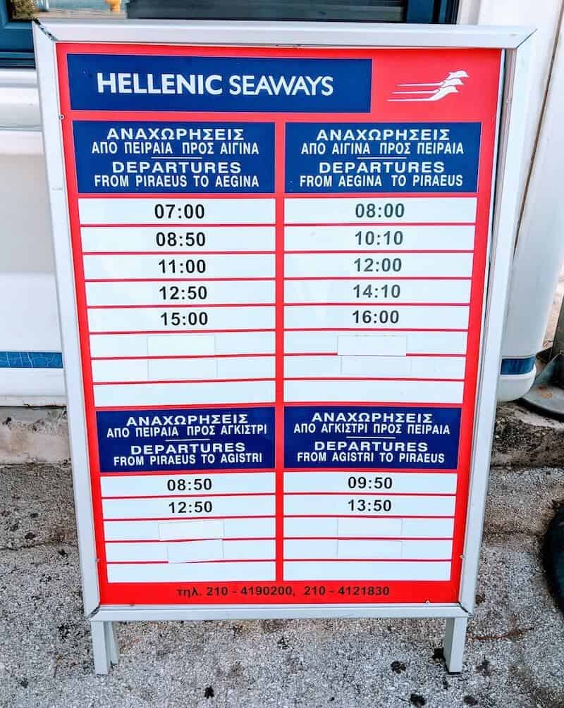 Schedule for Athens - Aegina ferries on a board
