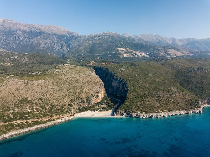 Gjipe beach from the air