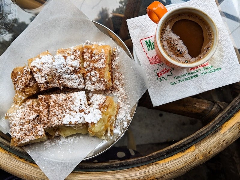 Sugar-dusted bougatsa and Greek coffee