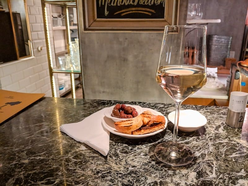 Wine and snacks at Zampano