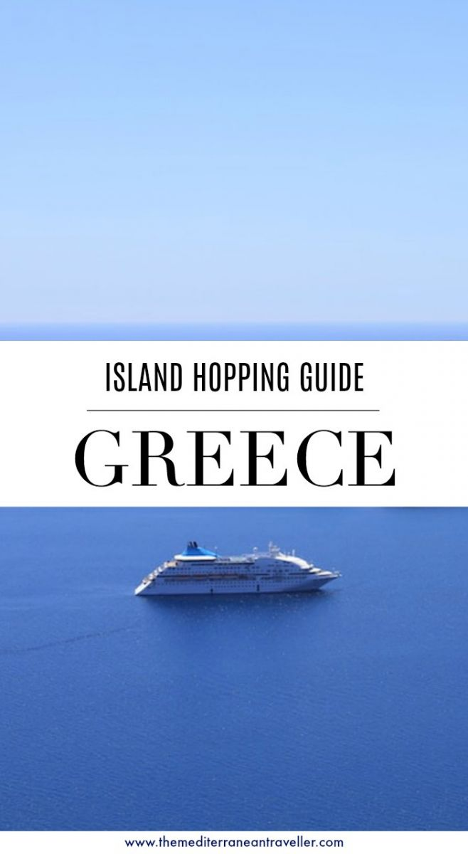 Greek ferry at sea with text overlay 'Greece - island hopping guide'