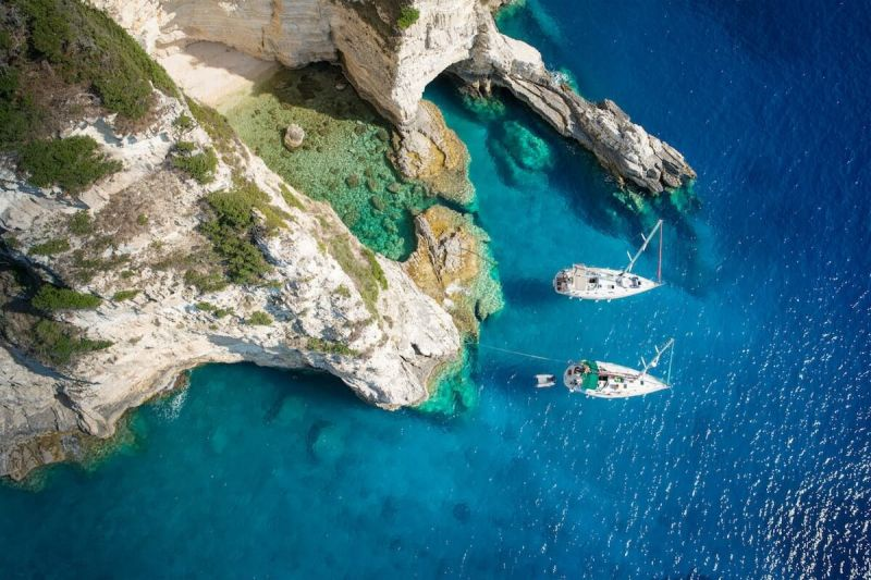 Aerial view of yachts near Paxos