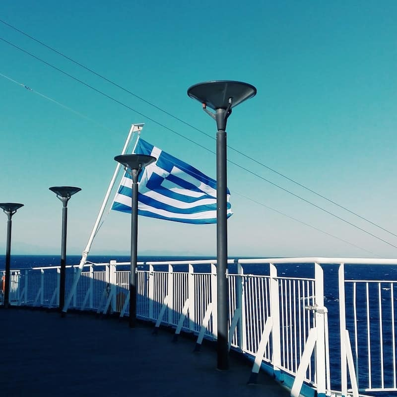 Greek flag on ferry deck