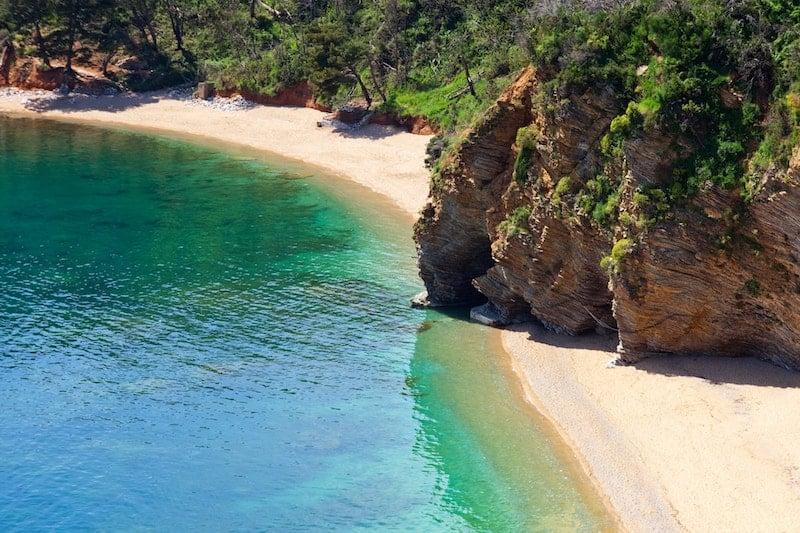 Emerald waters of Mogren beach