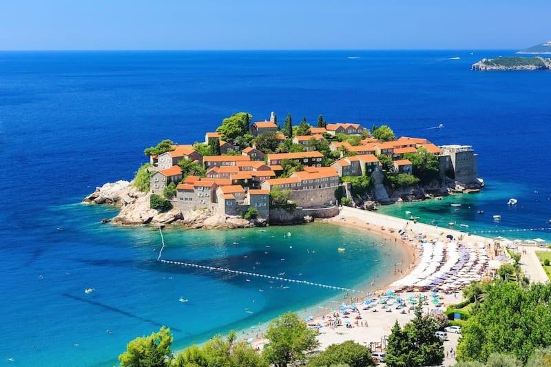 Sveti Stefan island and beach