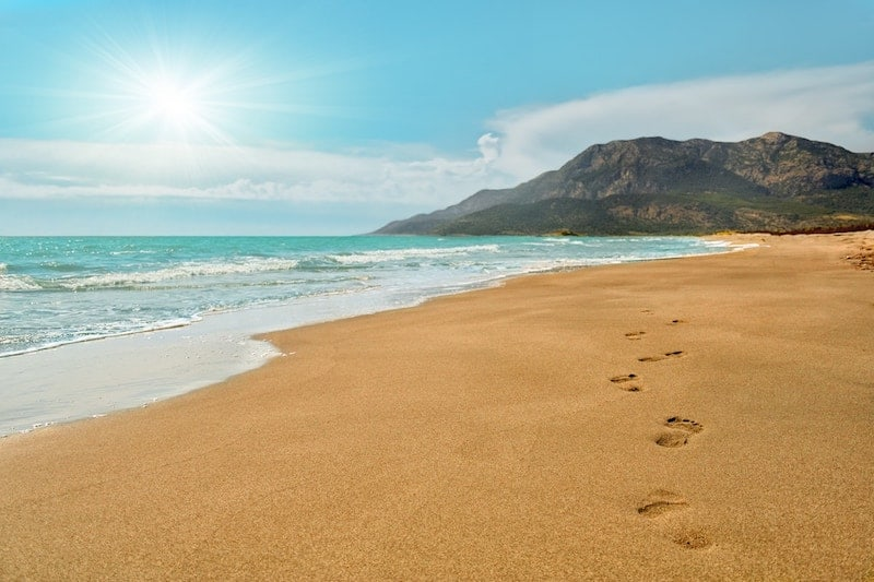 Footsteps on the sand of Patara Beach
