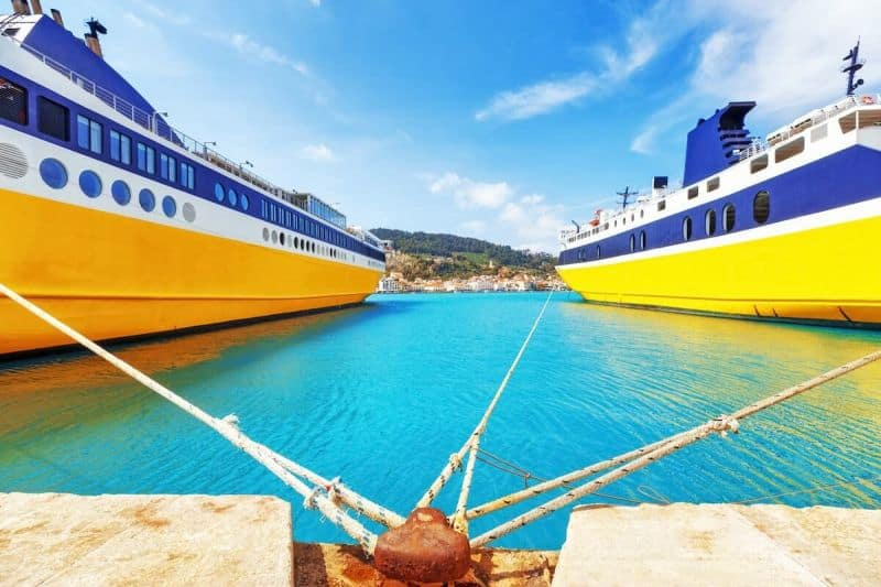 Yellow ferries docked on Zakynthos