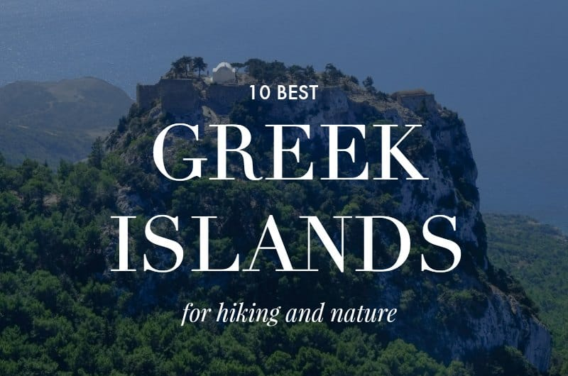 Clifftop Monolithos church with text overlay '10 Best Greek Islands for Hiking and Nature'
