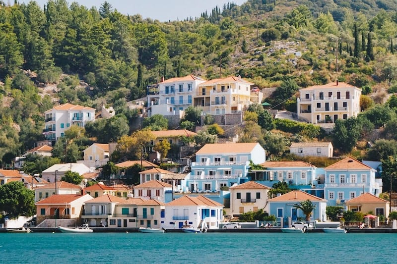Handsome villas facing the sea on Ithaca island