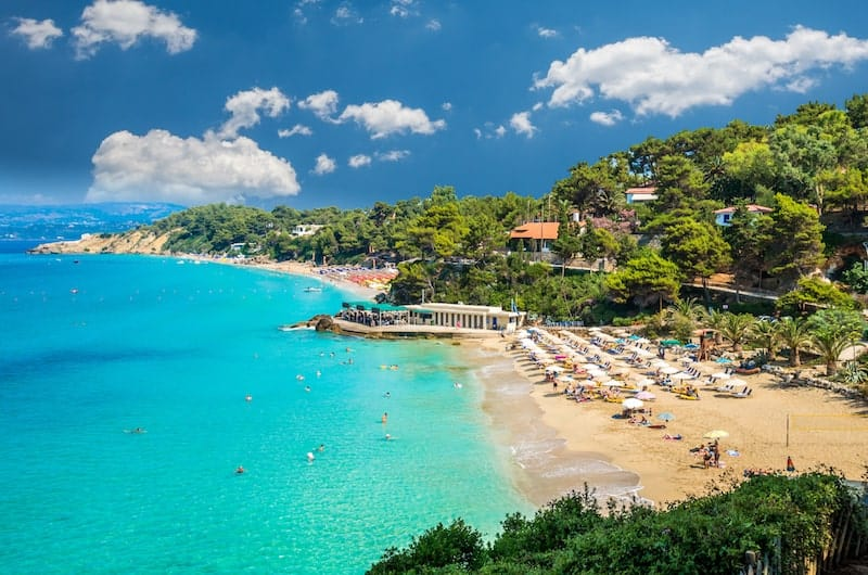 Two main beaches of Lassi on Kefalonia