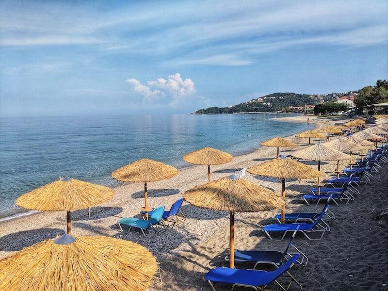 sunloungers on Poros beach