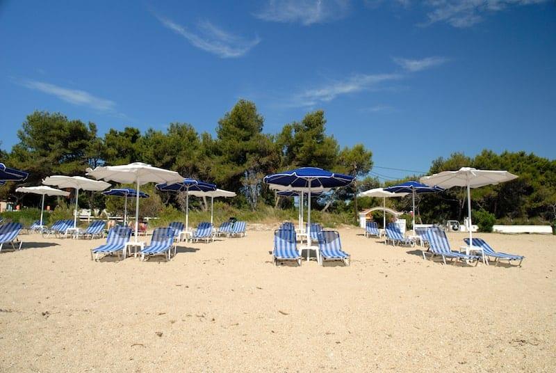 Sun loungers on Skala beach