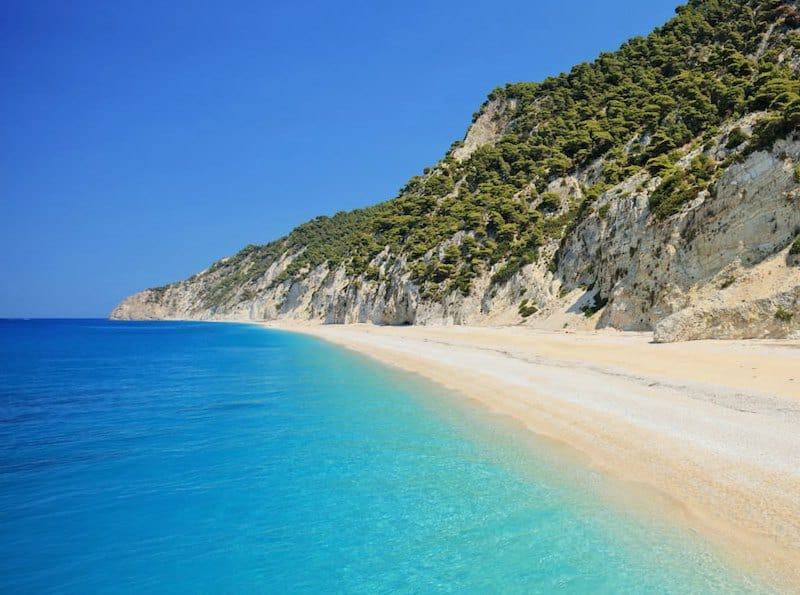 beautiful beach with electric blue water on Lefkada