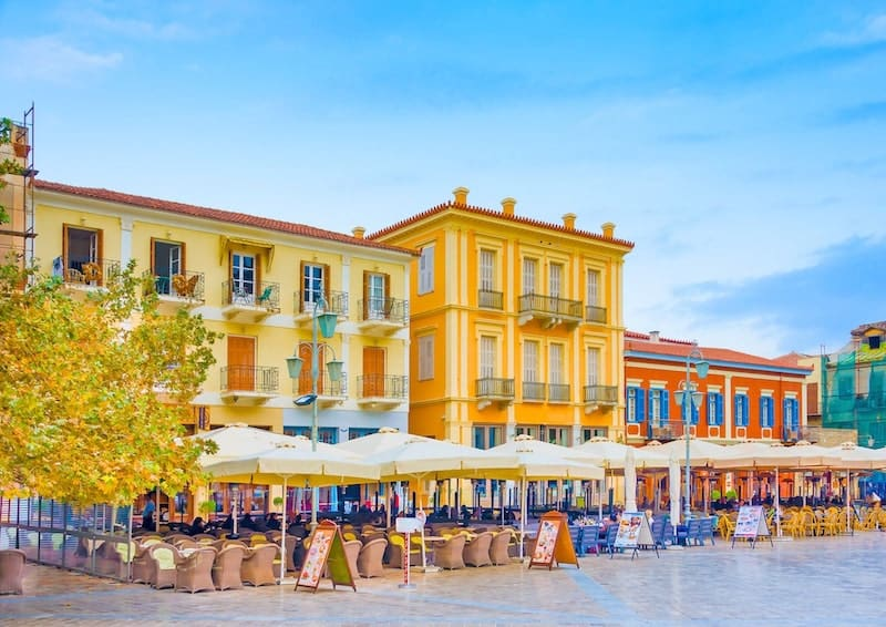 Elegant colourful buildings in Nafplio