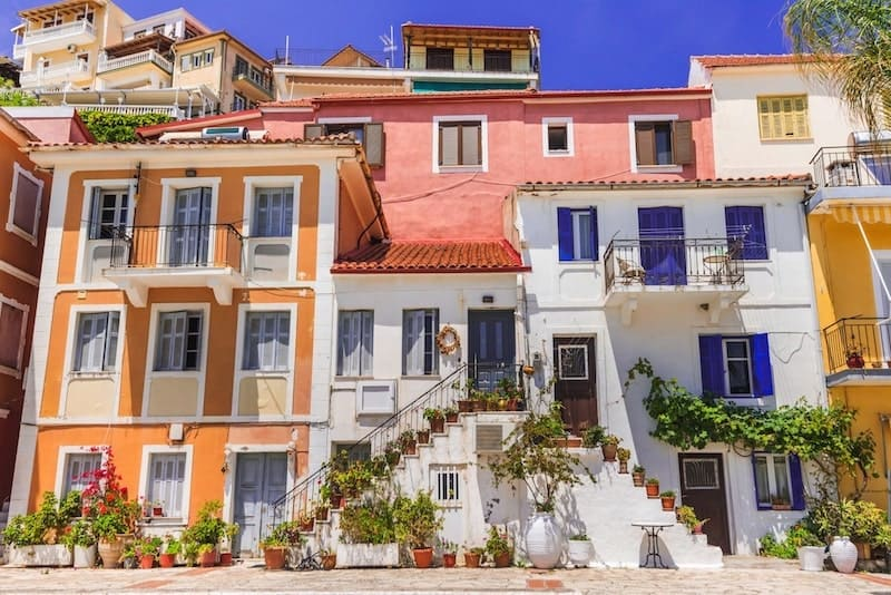 Tall colourful buildings in Parga