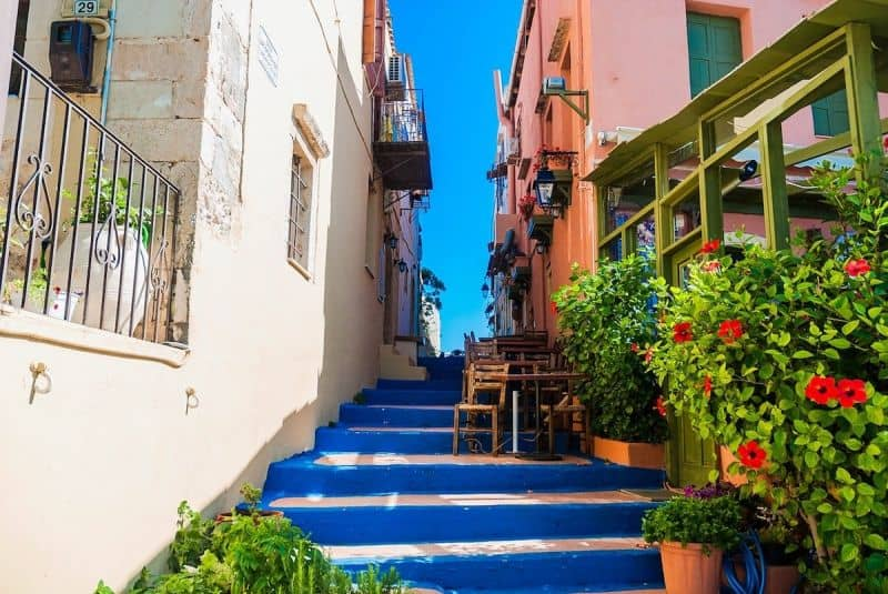 Blue painted steps in Rethymno