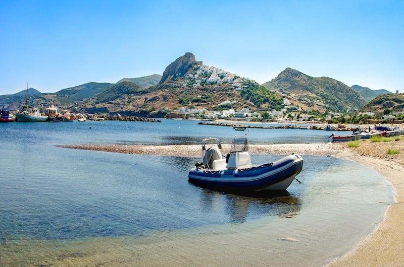 Boat on beach on Skyros