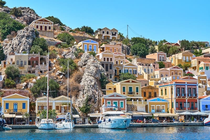 colourful neoclassical mansions on Symi
