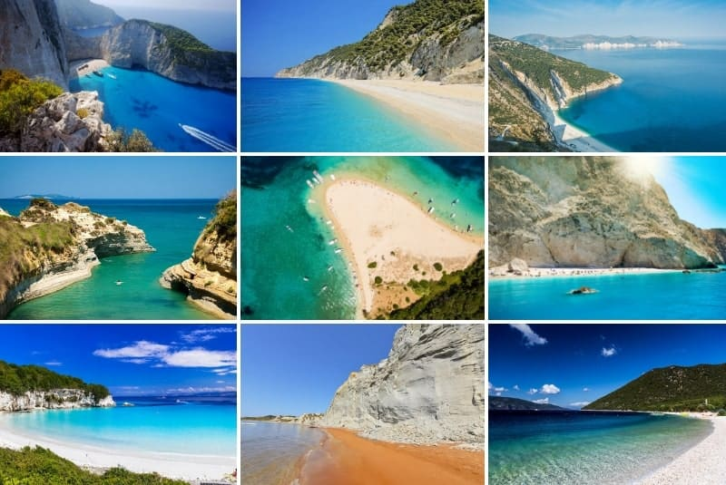 collage of the best beaches in the Ionian islands, Greece