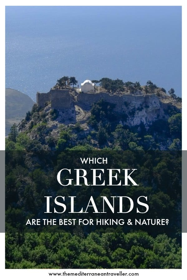 Monolithos on Rhodes with text overlay 'Which Greek Islands are the best for hiking and nature?'