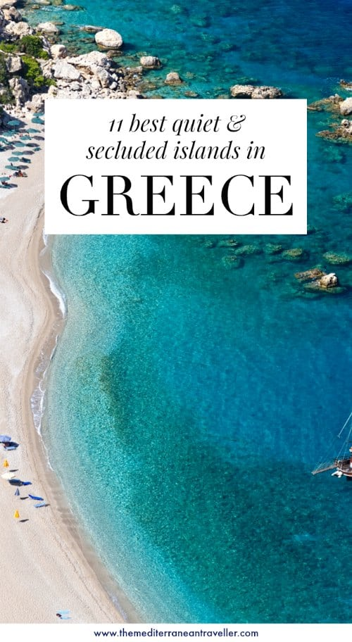 Karpathos beach with text overlay '11 best quiet & secluded islands in Greece'