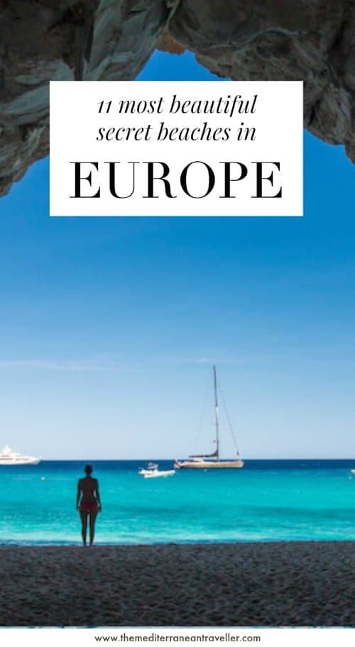 Cala Luna cave with text overlay '11 Most Beautiful Secrete Beaches in Europe'