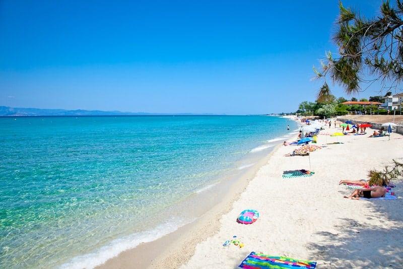 White sands of Hanioti beach in Chalkidiki