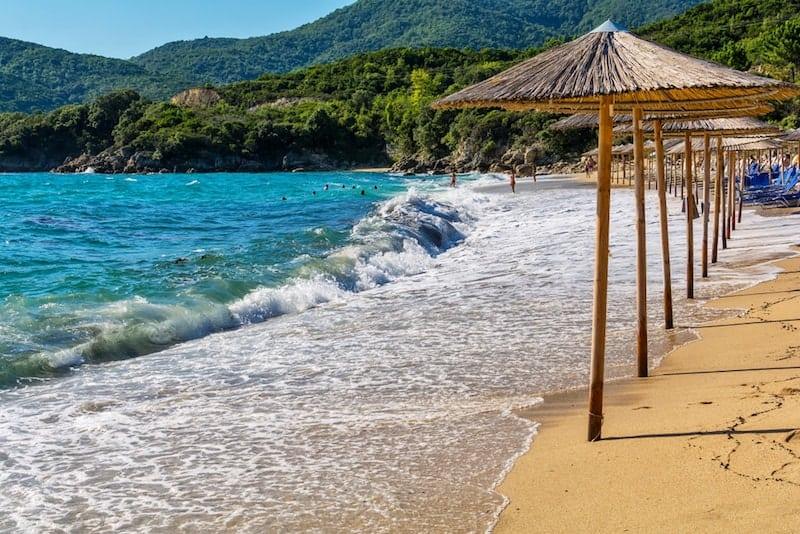 Waves roll up on Olympiada beach