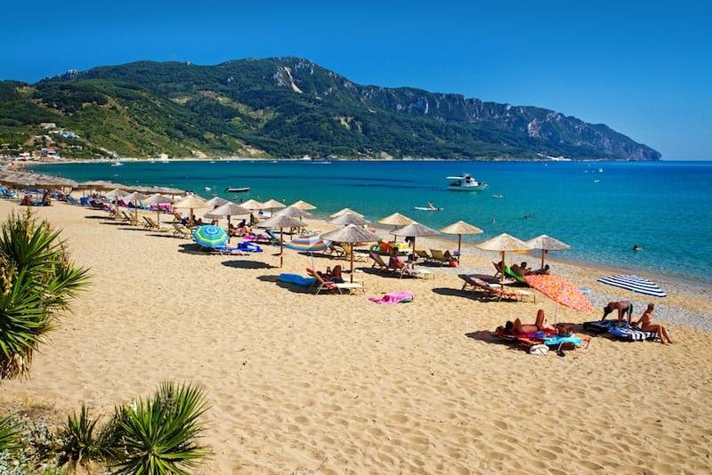 Golden sand of Agios Georgios on Corfu