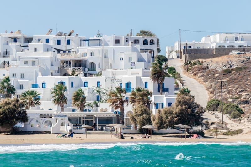 Naoussa beach and white buildings on Paros