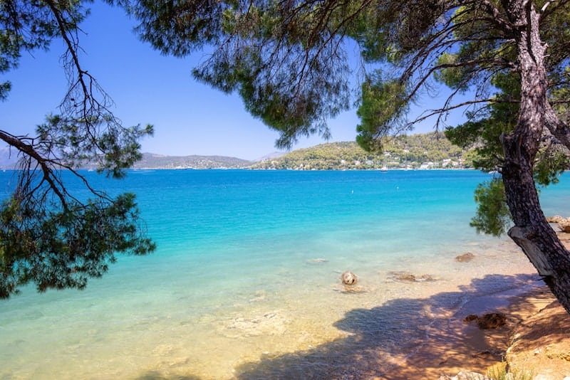 View out to Love Bay on Poros from the beach
