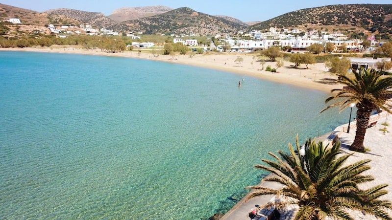 Peaceful waters of Agathopes beach on Syros