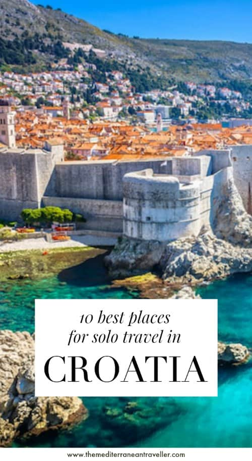 Dubrovnik city walls with text overlay '10 best places for solo travel in Croatia'