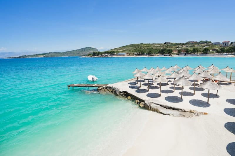 Parasols on Ksamil beach