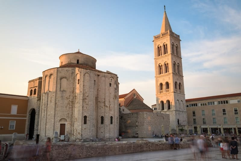 Sun sets on Zadar's historic centre