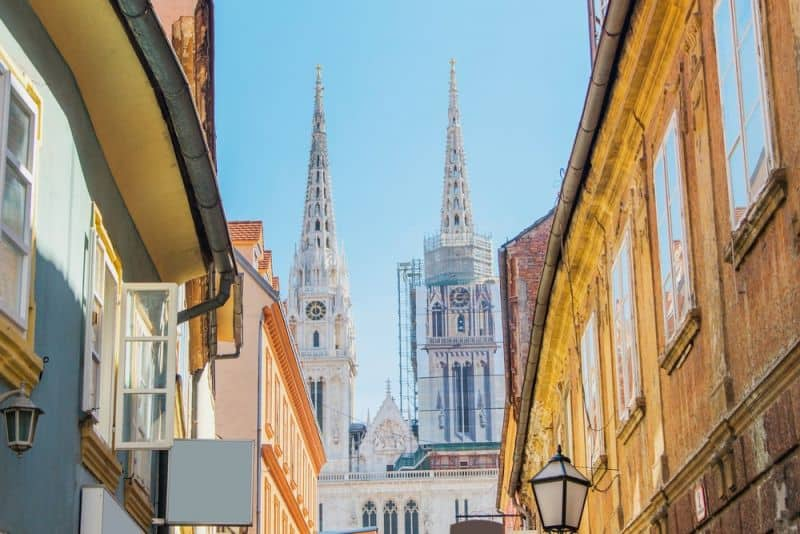 Streets and church spires in Zagreb