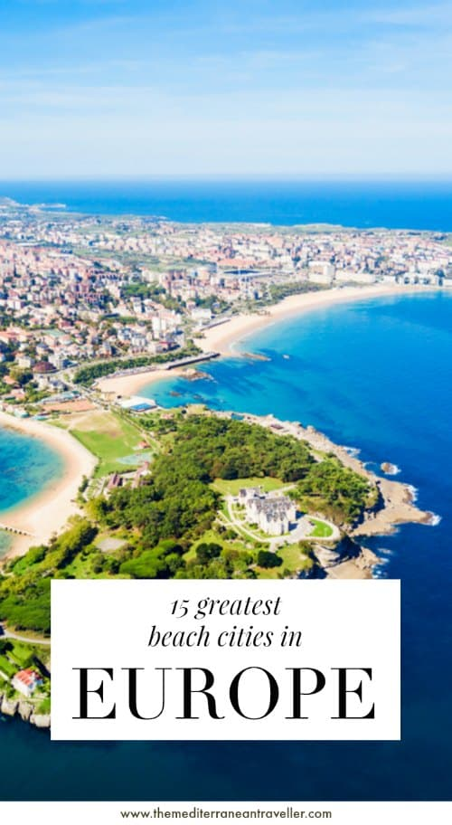 Aerial view of Santander beaches with text overlay '15 Greatest Beach Cities in Europe'