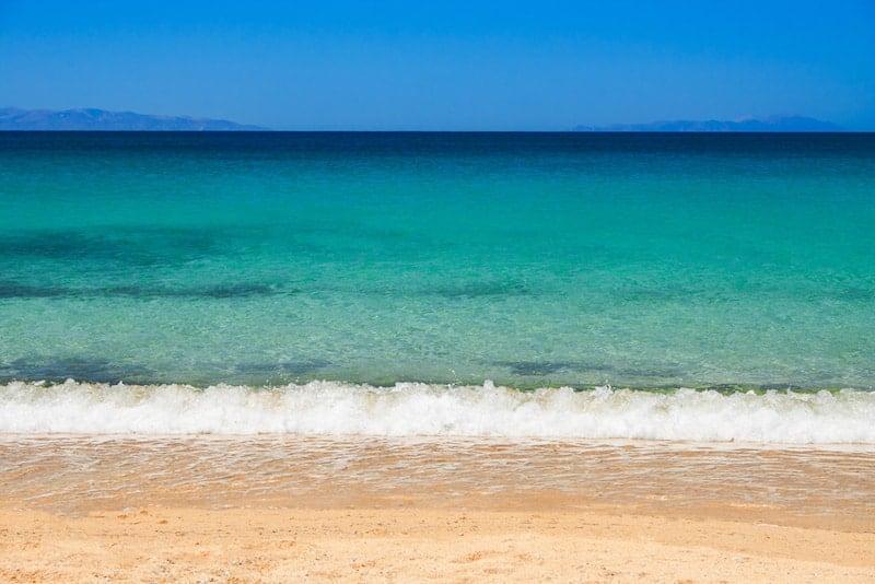 Turquoise water of Plaka beach, Naxos