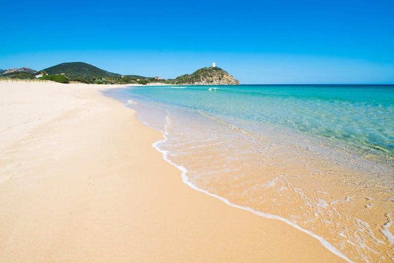 Golden sands of Chia Beach on Sardinia