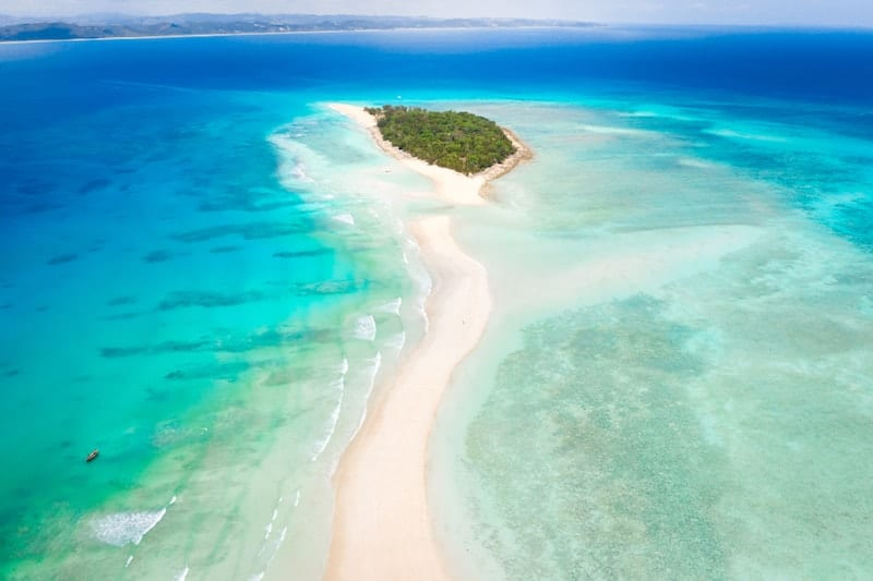 Long sand bar at Nosy Iranja on Madagascar