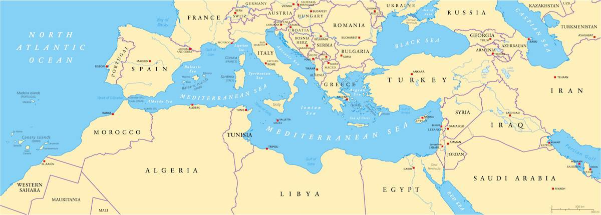 map of the greater Mediterranean region
